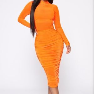 Moved To The City Ruched Midi Dress- NeonOrange